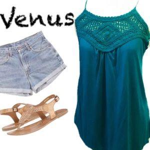 Venus Vibrant Teal Crochet Front Tank Sz. M